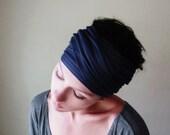 MIDNIGHT BLUE Hair Wrap - Dark Navy Blue Yoga Head Scarf - Workout Headband - Versatile Hair Accessories - Ecoshag Head Scarf