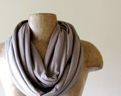 SAND Infinity Scarf - Taupe Loop Scarf - Lightweight Jersey Circle Scarf - Handmade Eternity Scarf