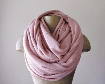 DUSTY PINK  Neck Warmer - Extra Large Soft Pale Rose Chunky Scarf - Cozy Knit Fashion Scarf - Winter Snood