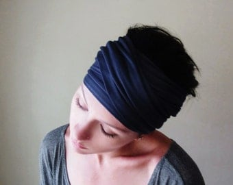 MIDNIGHT BLUE Hair Wrap - Dark Navy Blue Yoga Head Scarf - Workout Headband - Versatile Hair Accessories - Ecoshag Head Scarf