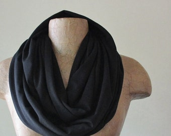 BASIC BLACK Infinity Scarf - Handmade Jersey Circle Scarf - Lightweight Infinity Loop Scarf - Black Everyday Scarf