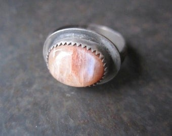 Moonstone Sterling Silver Ring - Peach, blue chatayoncy