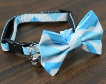 Blue Chevron Collar, Blue and White Chevron, Blue Chevron Cat Collar, Cat Collar - Baby Blue Chevron - Matching Bow Tie and Flower Available