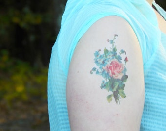 Vintage Floral Temporary Tattoo - Rose Tattoo - Vintage Flower Tattoo