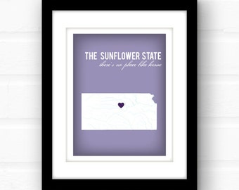 Kansas state map art // custom state wall art // Overland Park, Kansas // Topeka, Kansas // custom state art print