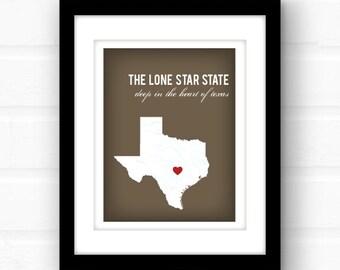 Texas decor   custom Texas art print   Texas state home decor   Houston Texas art   Dallas Texas print   Austin Texas wall art   Waco Texas