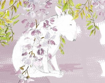 English Bull Terrier under the Wisteria Print + matted options