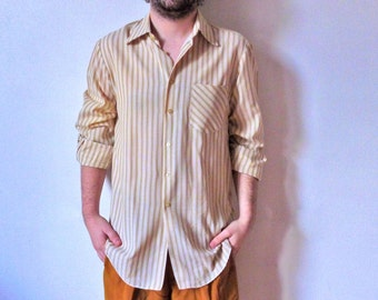 80s white golden tan striped long sleeved men shirt M