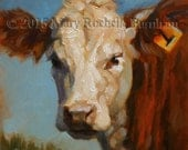 Number 1 Cow, Original Oil Painting, 6x6""