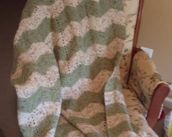 Cream sage light green crocheted chevron blanket throw