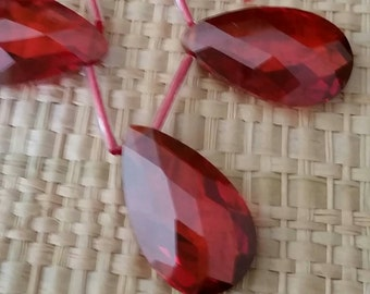 Faceted Red Briolettes CZ Cubic Zirconia Crystal Beads- Large 20x13mm-1 bead