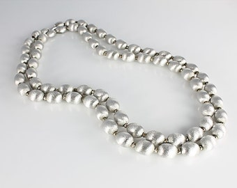 Crown Trifari Necklace, Brushed silver Bead, Double Strand, Metal Bead Necklace, Vintage 1960s jewelry