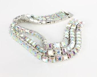 Aurora Borealis Bracelet, AB rhinestone Chain Bracelet vintage Monet wedding jewelry