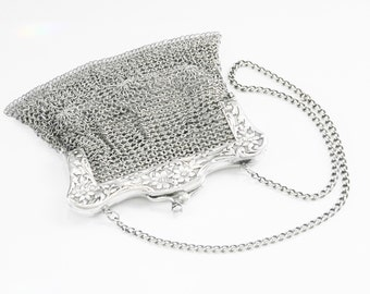 Antique Victorian Mesh Chainmail Purse 800 Silver