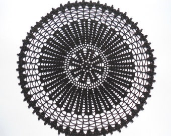 "Black crochet doily , round lace doily ,16 "", Halloween decor"