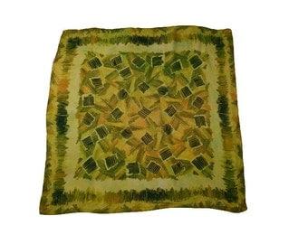 Vintage Green, Yellow, Orange Abstract Design Square Scarf, Head, Neck, Sash