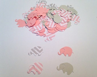 elephant baby shower pink chevron elephant pink gray elephant confetti elephant cut out elephant theme baby