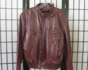 Vintage Leather Jacket 1980s Wilsons Leather Cafe Racer Oxblood 40 42 Unisex Outerwear Faux Fur Lining Zip In Mens S M Cockpit