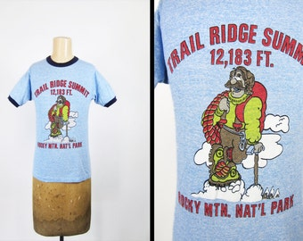 Vintage 80s Rocky Mountains T-shirt Tri Blend Ringer Trail Ridge Summit - XS / Small