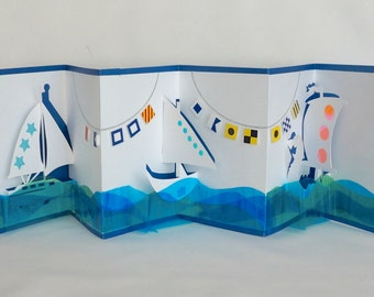 REGATTA HAPPY SAILING FLAGs & Sailboats Pop-Up 3D Card Handmade in White Dark Blue Turquoise Green Transparent Shades on Metallic Blue OOaK