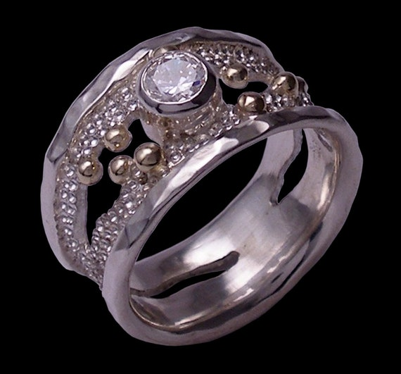 OOAK 'Chic', Genuine Cubic Zirconia, 10 Karat Yellow Gold and Sterlium Sterling Silver, Hand Made 'Chic' Ring by Rubyblue Jewelry