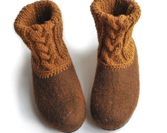 Felted slippers with rubber soles- house shoes - brown