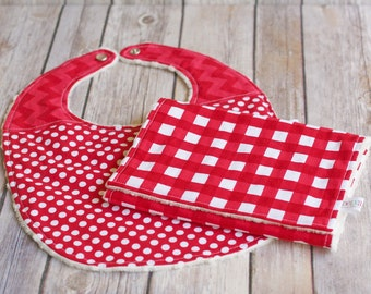 SALE Red Baby Bib and Burp Cloth Set, Minky Baby Bib, Minky Burp Cloth, Baby Gift Set, Baby Shower Gift, READY to SHIP