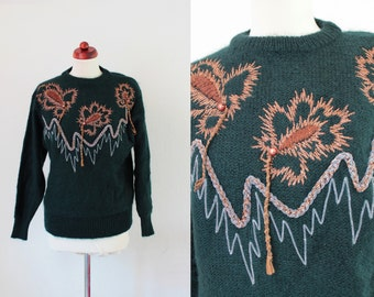 Vintage Green Sweater - 1980's Sweater Mohair Sweater with Embroidery - Size S