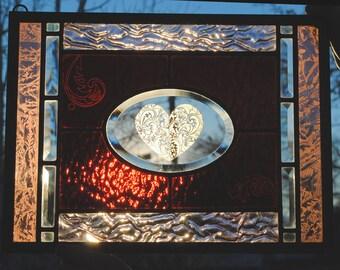 Valentine Heart Stained Glass Window Panel Filigree Love Purple Lavender Pink