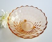 Vintage Depression Glass Pink Bowl - Whitehall Peach by Colony - Cubic - Whitehall Pattern Footed