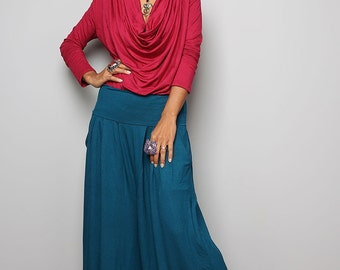 Comfy Pants  -  Long Turquoise Wide Leg Pants : Urban Chic Collection no.22