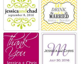 100 - 2 inch Custom Glossy Waterproof Wedding Stickers Labels - many designs to choose - change designs to any color, wording etc