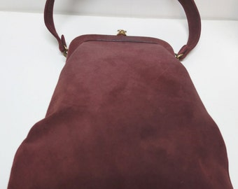 HOLZMAN Vintage Rust Suede Tall Purse Handbag
