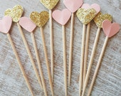 12 Pieces Gold and Blush Glitter Party Picks - Cupcake Toppers - Heart - Wooden Tooth Pick - Wedding - Birthday - Pink - Festive - New Year