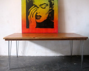Reclaimed Wood/Steel Dining Table.Made in Los Angeles.