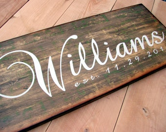 Custom Family Name Est Date Sign - 12x30, Wall hanging, Wedding and photo props, Family name and established date