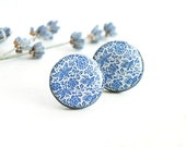 Blue post earrings, large stud earrings, floral jewelry