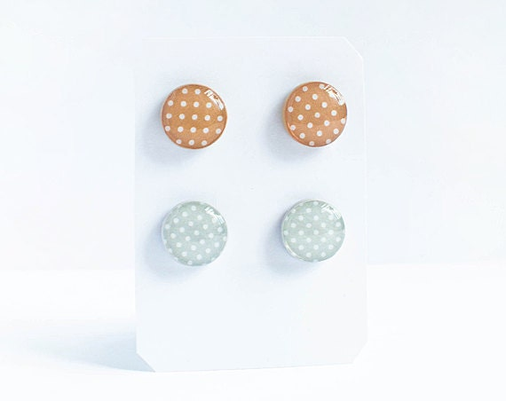 Set of polka dot post earrings, gray and beige stud earrings, fall jewellry