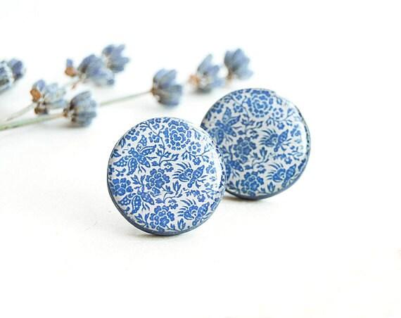 Blue post earrings, large stud earrings, floral jewelry