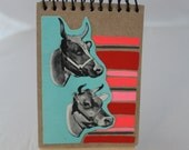 Bunch o' Bull, Miniature Journal, Painted, Collaged, One of a Kind Original