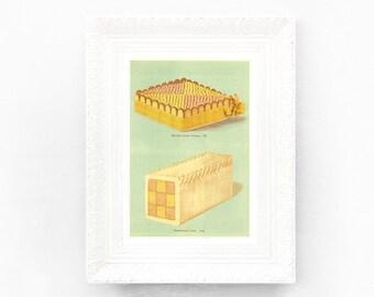 8x11 Vintage Baking Print in Aqua Duck Egg Blue Pink Lemon Pastel Gateaux. Vintage confectionery print. Vintage Dessert Print. Mint VC1