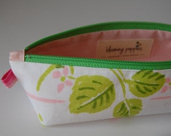 Multi Purpose Stash Pouch, Vintage SpringTime, Square Bottom, Small Sized Pouch for Essential Oils, Make- Up, Money, Keys,  Etc. THE GLORIA