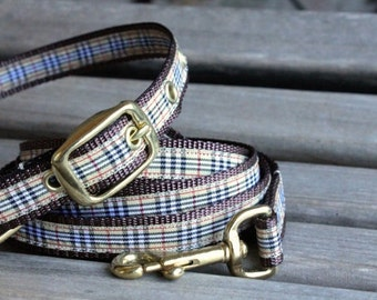Small dog collar and leash set, preppy dog collar and leash
