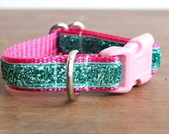 Puppy Dog Collar, Small Dog Collar in Pink, Teal Dog Collar