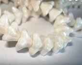 Czech Opaque White Trumpet 5 petal star flower beads 6 x 9mm - luster finish