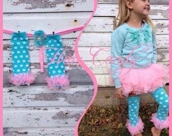 Teal polka dot and pink ruffles boot socks leg warmers or arm warmers