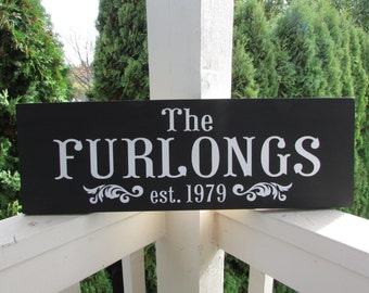 Personalized wood family sign with name and established date  - personalized - custom wood sign in colors of your choice - LR-076