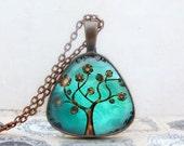 Copper Tree Necklace: Triangle Pendant. Pendant. Charms. Art. Picture Pendant. Copper Jewelry. Handmade Jewelry. Jewellery. Lizabettas