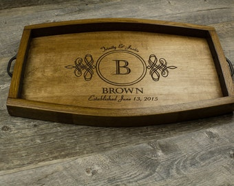 Personalized Wine Barrel Serving Tray- Wedding Gift, Anniversary Gift, Housewarming Gift