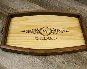 Personalized Wine Barrel Stave Tray- Wedding Gift, Anniversary Gift, Housewarming Gift